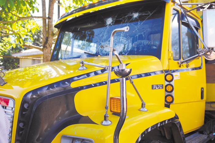 Managua, Nicaragua 05 de Diciembre del 2016. Camion dañado de Francisca Ramirez Torrez que lo tienen detenido en la estaion de nueva guinea.Foto/Carlos Valle/LA PRENSA.