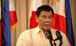 El presidente de Filipinas, Rodrigo Duterte, habla durante una declaración de prensa en Manila. AFP